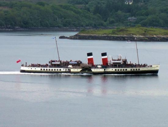 The Waverley leaving Gairloch harbour with Cadha Bhuic in the background